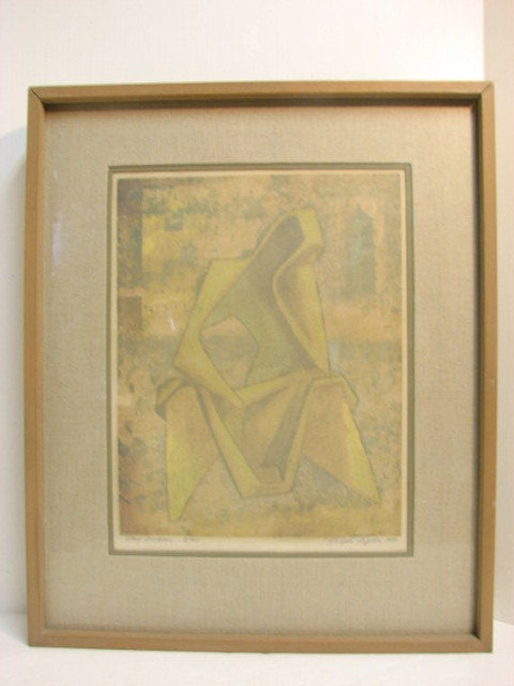 Vintage Ralph Peplow Day Dreams Lithograph Print, Signed & Numbered in Vintage 1950s Frame, Mid Century Abstract Art
