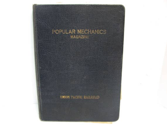 1900s Union Pacific Railroad Popular Mechanics Hardback Magazine Protector Binder Holder Vintage Popular Mechanics Mag Keeper UPRR