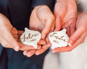 Calligraphy names on Italian Arabesque shaped Carrara marble for wedding favors, escort table, paperweight, bridal shower, office name plate