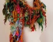 Recycled silk scarf, hand knitted boho tattered rag scarf, orange green