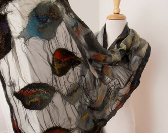 Nuno felted Merino Silk scarf wrap by plumfish black and grey