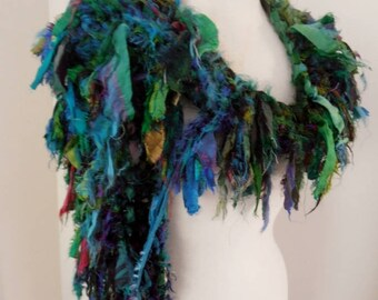 scarf, woodland, forest elf, shades of green, Recycled silk, hand knitted, boho tattered rag scarf