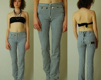 sale 25% off DOLCE & GABBANA RARE Railroad Stripe Runway Low Rise Corset Denim Sailor Pants (40)