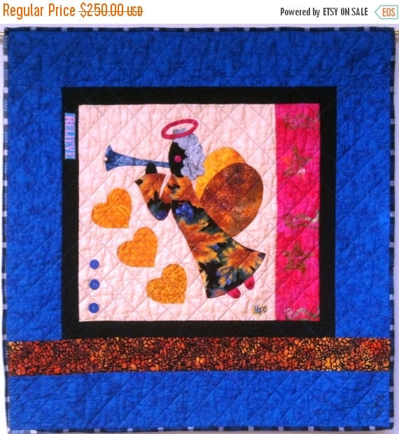 Black History I Believe in Angels Number 17 art quilt wallhanging