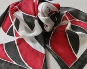 Hand Painted Silk Scarf - Handpainted Scarves Black White Dark Red Abstract Bold