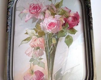 Roses, Print, Catherine Klein, Convex Glass, Antique, Barbola Frame, Half Yard Long, Art Print, Shabby Chic, Vintage