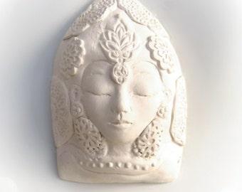 White Tara Tibetan Buddhist Goddess Bust Sculpture Ceramic Quan Yin Kwan Yin Wall Art