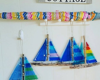 Fused Glass and Driftwood Sailboat Suncatcher