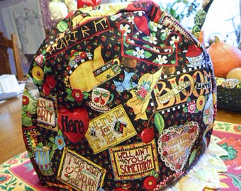 Cozy MOTTO TEAPOT COSY Vibrant Colors & Sayings on Engelbreit Black Cotton, Bluebird Tea Cup Cherries Hearts Hats, Flannel Lined 9 x 13