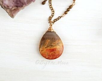 Jasper Necklace - Jasper Pendant - Red Creek Jasper - Fire Necklace - Large Stone Pendant - Red Necklace - Orange Necklace - Fire Pendant