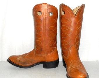 Mens Size 9.5 D Tan Brown Cowboy Boots Western Rockabilly Shoes Boho Womens 11