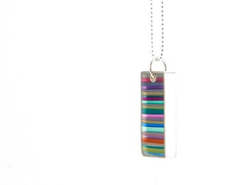 Lined Up Necklace multicolored resin and sterling silver colorful bright gift