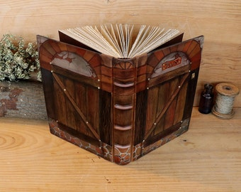 "Leather Journal, Blank Book, Handpainted decoration, ""Gate to the Heart"", One of a Kind (4/4)"
