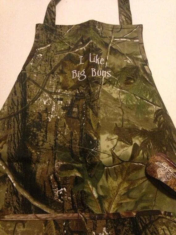 """Camouflage Apron """"I like big buns"""" Embroidered Fun Christmas Gift"""