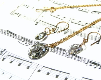 Swarovski Crystal Gold Pendant Earrings Jewelry Set Crystal Jewelry Sets for Women