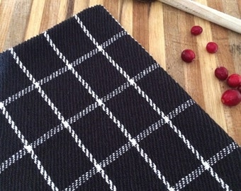 Handwoven windowpane plaid kitchen towel in black & natural cottons