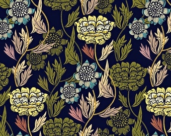 Vintage Floral Fabric - Joy Blooms By Susan Polston - Art Nouveau Flowers on Cotton Fabric By The Yard With Spoonflower