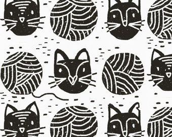 Scandi Black and White Cat Fabric - Yarn Cats By Ruth_Robson - Scandi Black and White Cat Cotton Fabric By The Yard With Spoonflower
