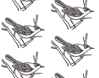 Watercolor Jays Fabric - Watercolor Bird In Grays By Kendrashedenhelm - Watercolor Woodland Bird Cotton Fabric By The Yard With Spoonflower