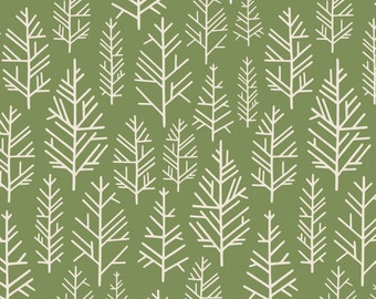 Green Woods Fabric - Green Woods By Annabhall - Green Woodland Nursery Decor Cotton Fabric By The Yard With Spoonflower