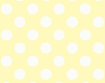 Pale Yellow Polka Dot Fabric - Cream And Sugar - Jill Bull By Palmrowprints- Yellow White Nursery Cotton Fabric By The Yard With Spoonflower