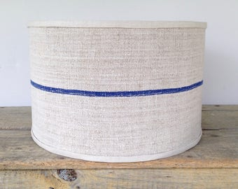 Drum Lamp Shade, Blue Stripe Lampshade in Vintage Grain Sack Linen 14x14x9 Drum Shade - Great Texture - Table or Pendant lampshade