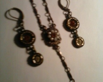 Copper Citrine and Pearl Necklace Earring Set