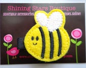 Felt Hair Clips - Baby Girl Hair Accessories - Yellow And Black Embroidered Felt Bumble Bee Hair Clippie - Garden Bugs