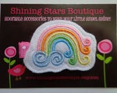 Hair Accessories - Felt Hair Clip - Swirly Rainbow With Pink, Orange, Yellow, Lime, And Blue Boutique Embroidered Hair Clippie For Girls