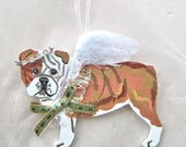 Hand-Painted ENGLISH BULLDOG FAWN Feathered Wing Angel Wood Ornament...Artist Original