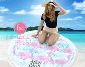 Round Beach Towel , FLAMINGO monogrammed beach towel personalized Round Summer Towel , Circle Beach Towel, Bridesmaid gift