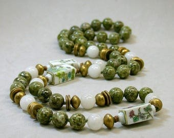 Vintage Green Jasper Bead Hand Knotted Necklace, Vintage Snow Quartz, Vintage Chinese Flower Porcelain Beads- GIFT WRAPPED JEWELRY