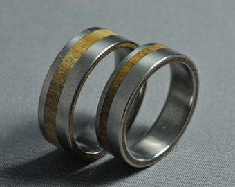 Titanium wedding ring set, lignum vitae wood, Engagement ring