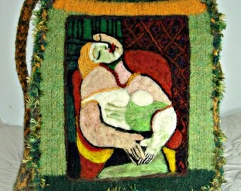 Felted Purse,Felted Handbag,Picasso Art, Picasso Painting, The Dream,Cubist Art