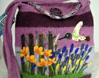 MY BIRTHDAY SALE Felted purse, felted handbag, flower garden art, hummingbird art, needle felt flower