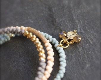 ON SALE Gemstone Bracelet Set - Beaded Labradorite Stone Wrap Cuff - Cream White, Light Grey, Baby Blue - Boho Jewelry