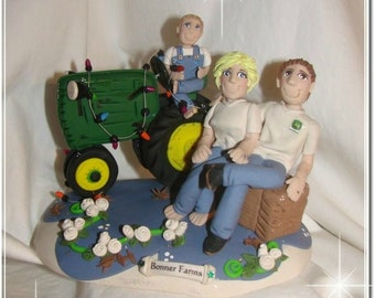 Country Farm Wedding Cake Topper, with child