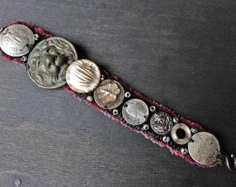 "Antique fabric wrist cuff bracelet with coin, button embellishments - ""Selenotropism"""