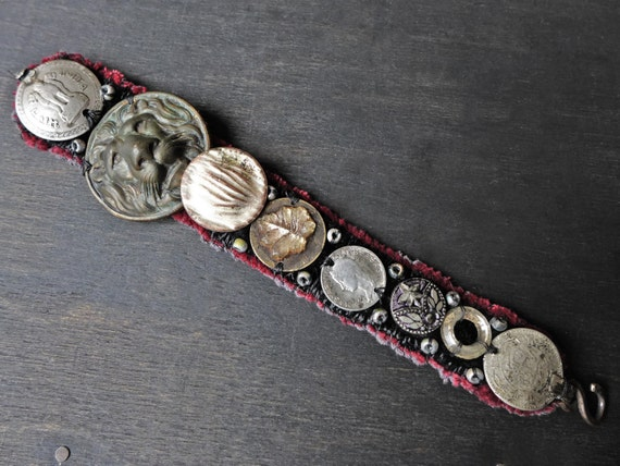 "Antique fabric wrist cuff bracelet with coin, button embellishments - ""Selenotropism"""