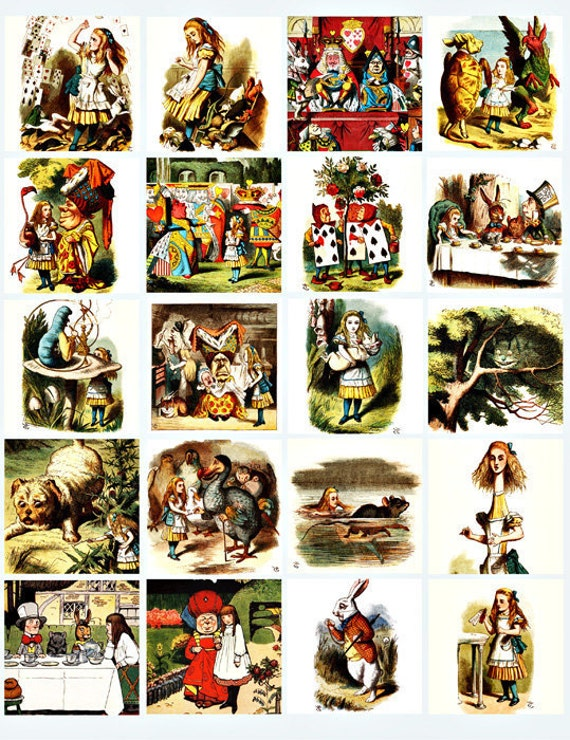 Alice In Wonderland collage sheet 2 inch squares digital download art graphics images printables