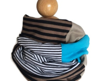 Child infinity scarf, RTS kids circle scarf, blue brown beige black white striped, boy girl, gender neutral, cotton knit shawl, neck warmer