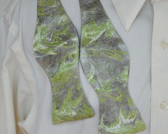 Self Tie Bow Tie with Pantone Greenery and Grey on Satin Fabric Made in Asheville, NC MM#17-7