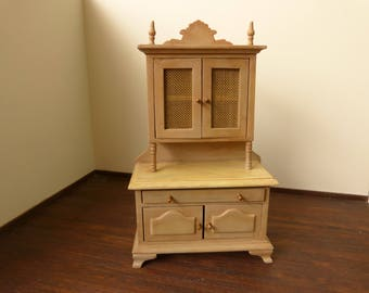 Dollhouse miniature hand-painted cupboard in 12th  scale with faux marble painted top