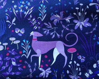 SALE. The lovely hunt by Lizzy House Quilting cotton  Tapestry  in purple