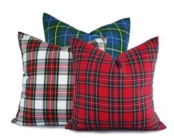 Set of Plaid Christmas Pillows, Plaid Holiday Pillows, Red White Blue Christmas Pillow Covers, Tartan Plaid Pillow Covers, 18x18 20x20