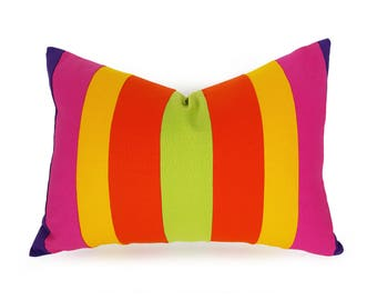 Unique Orange Pink Pillows, Vibrant Color Block Pillow, Color Band, Yellow Orange Pink Pillow, Colorful Lumbar Cushion Covers, 14x20