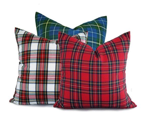 Christmas Pillow Set Plaid Christmas Cushions Holiday