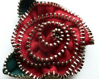 Deep Scarlet Red Floral Rose  Brooch / Zipper Pin by ZipPinning 3062