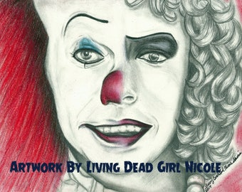 """Portrait Drawing Art Print: """"Penny Furter"""" - Stephen King IT Pennywise Franken Furter Rocky Horror Picture Show Tim Curry"""