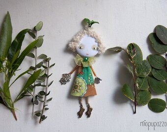 Art Doll Brooch, Spring Fairy Girl, mixed media collage, gift for her